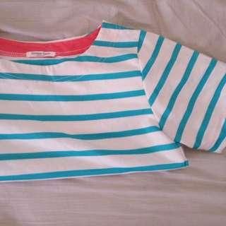 💃🏻美美藍綠色條紋可摺袖上衣✨