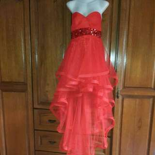Red Net Hi Low Layered Gown With Sequins Under Bust