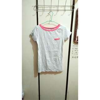 馬卡龍粉 麻灰T-Shirt