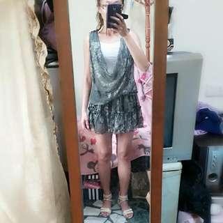 🚚 2件式垂綴領雪紡洋裝