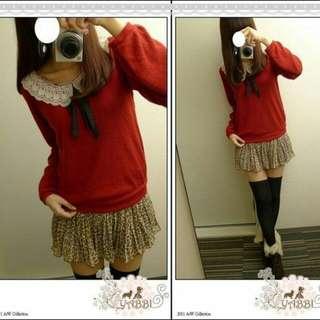 全新 日本知名品牌 byebye 蕾絲蝴蝶結領針織上衣