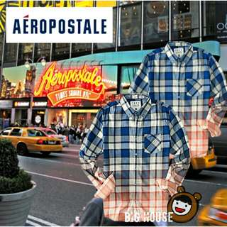 🐻Aeropostale mens free state long sleeve plaid dip-dye woven shirt