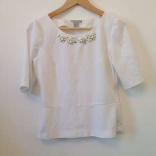 H&M White Blouse With Peplum And Beading Sz 8