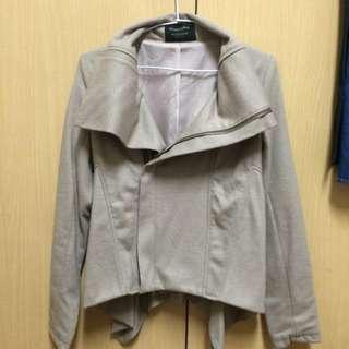 👚全新正韓騎士風薄毛料卡其外套