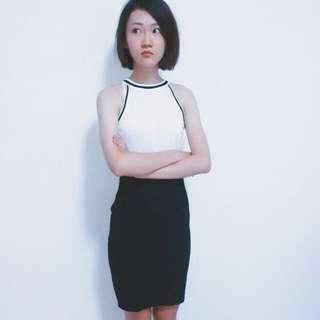 厚針織黑包裙窄裙