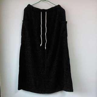 (保留中)深灰色毛毛類針織長裙