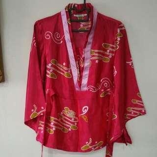 Satin Red Kimono Blouse