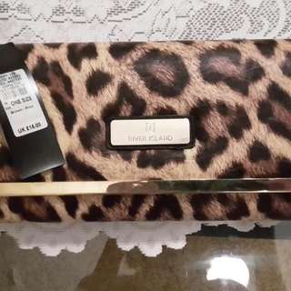 River Island Leopard Print With Gold metal edge Clutch Bag
