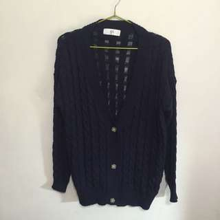 (含運)Queen Shop深藍針織外套