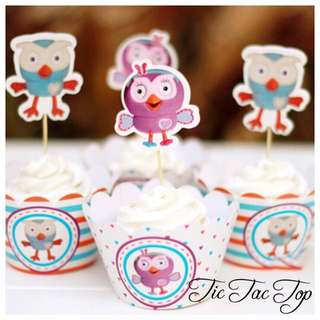 12pcs Giggle & Hoot & Hootabelle Cupcake Wrappers + Toppers