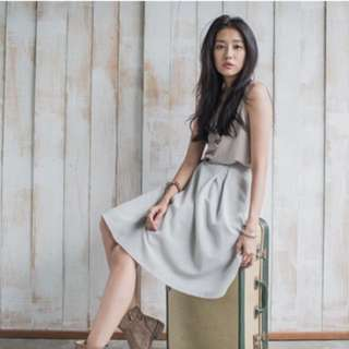 Starmimi棉麻感織紋過膝裙