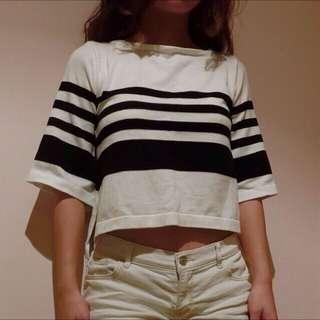 黑白條紋短版上衣