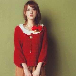 全新日本Ingni紅色飛鼠袖溫暖可愛毛衣上衣