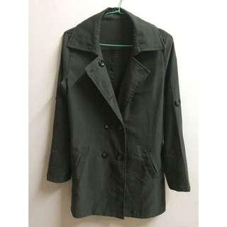 墨綠色外套 雙排扣