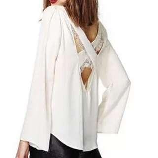 雪紡紗後背蕾絲交叉露背美上衣 (白色)
