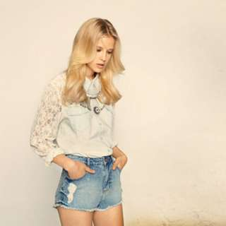 Miss Selfridge Lace Denim Shirt (reserved)