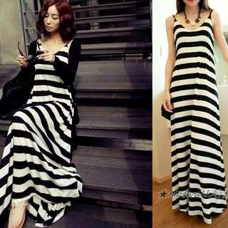 韓版連身長裙-黑白