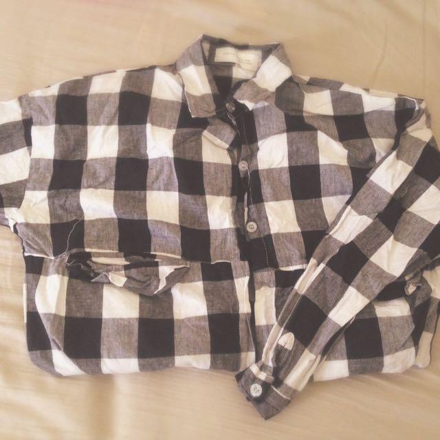 💃🏻東京著衣購入—黑白格紋長版襯衫✨