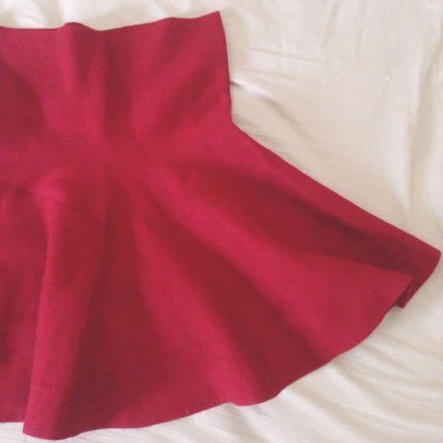 💃🏻可愛少女風紅色針織高腰短裙✨
