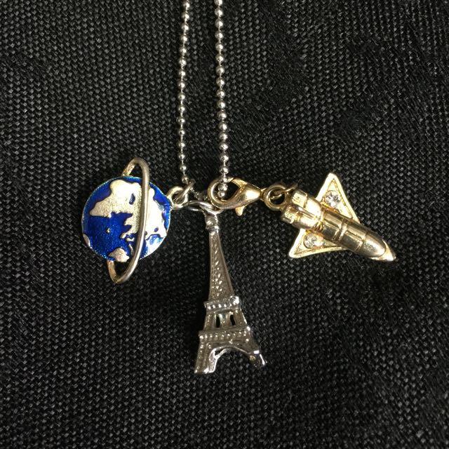 飛機星球與巴黎鐵塔項鍊