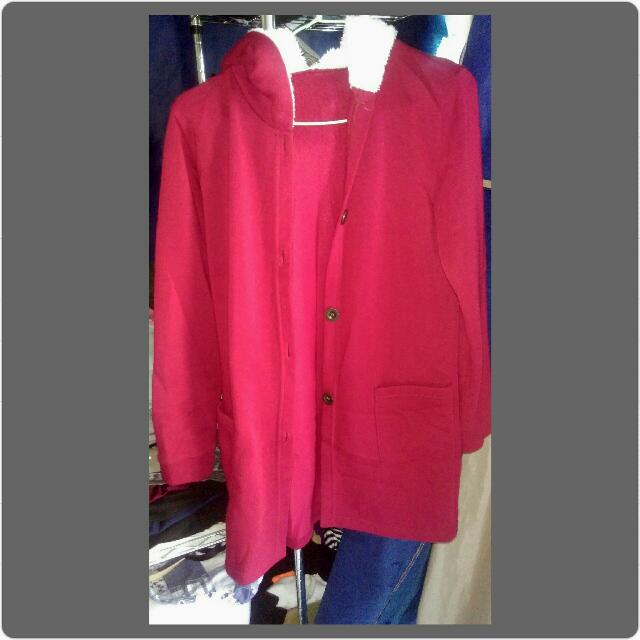 紅色鋪棉長外套