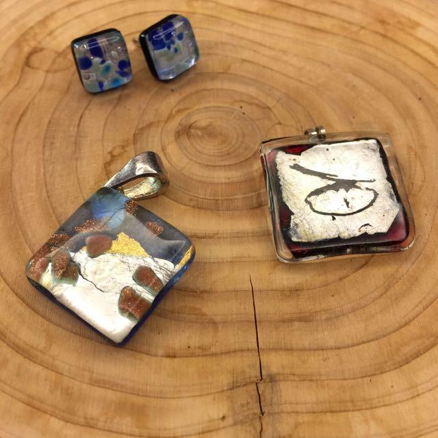 琉璃項鍊墜飾與耳環