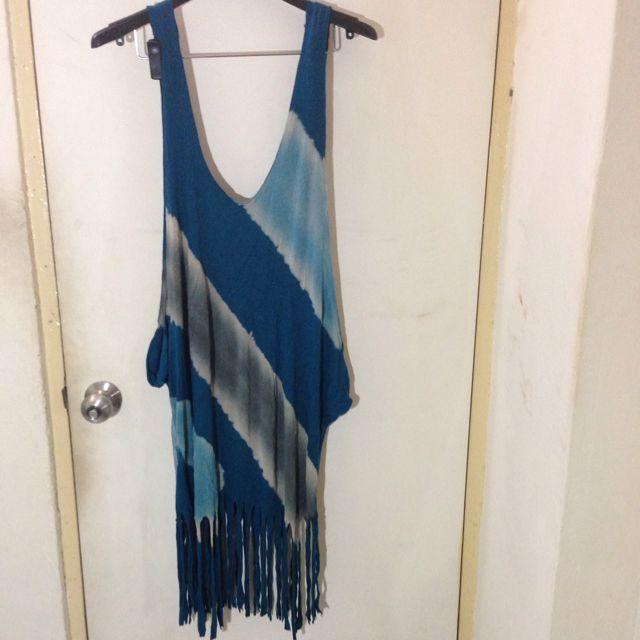 土耳其藍外搭流蘇短洋裝