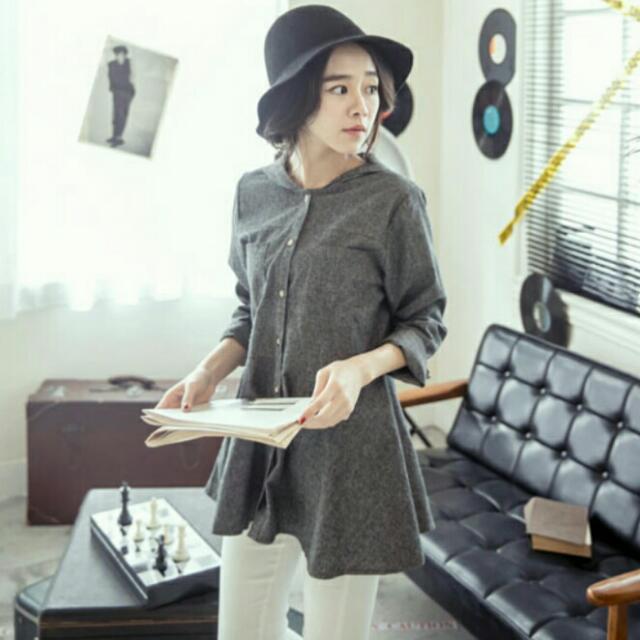 (全新)灰色連帽傘狀棉質襯衫洋裝