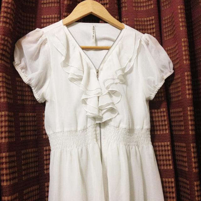 拉鍊公主袖縮腰洋裝