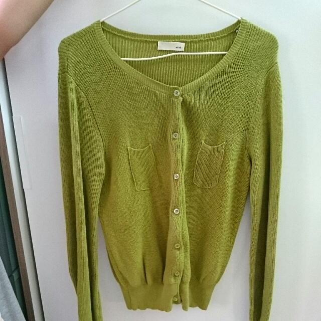 針織外套 芥末綠