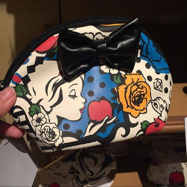 東京迪士尼 白雪公主 皮質 化妝包