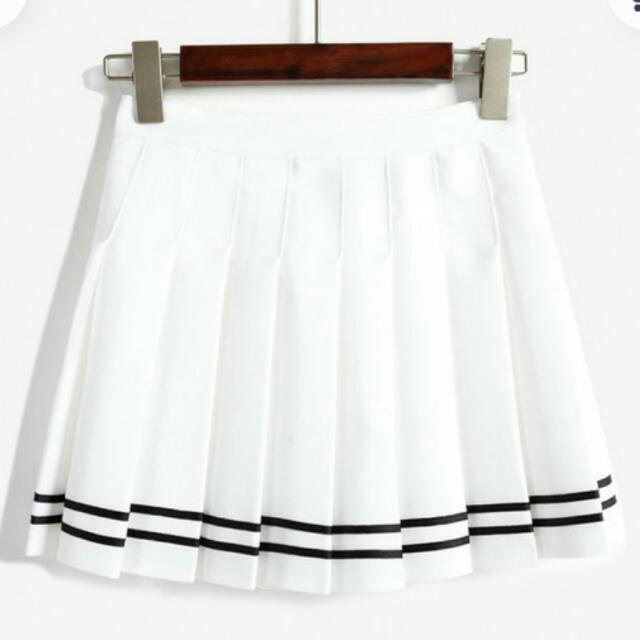 海軍 學院風 百折裙 白