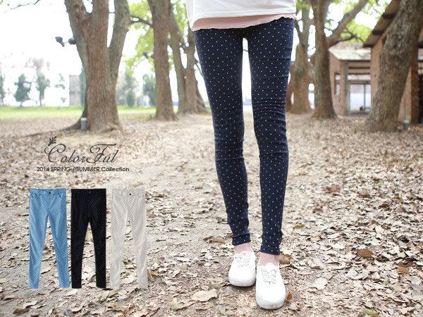 轉賣 彩色點點 Shining.水玉點點顯瘦彈性窄管褲 深藍色