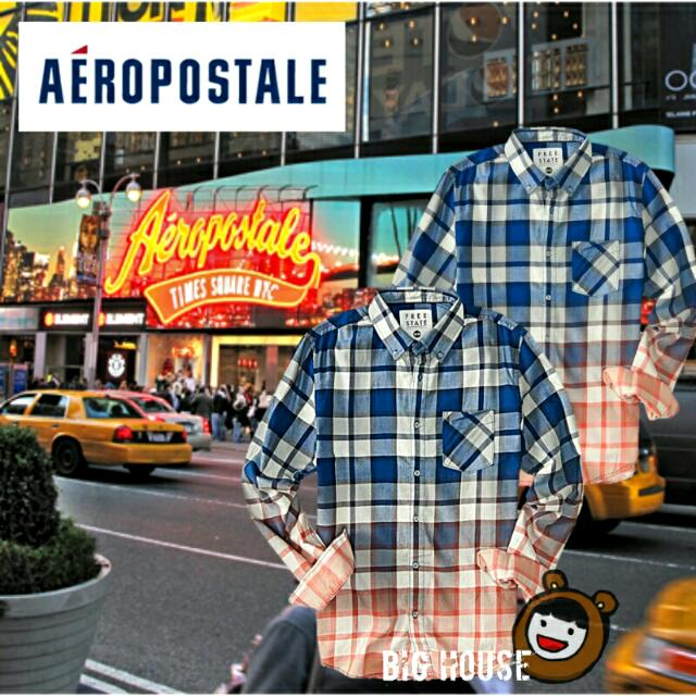 🐻Aeropostale mens free state long sleeve plaid dip-dye woven shirt