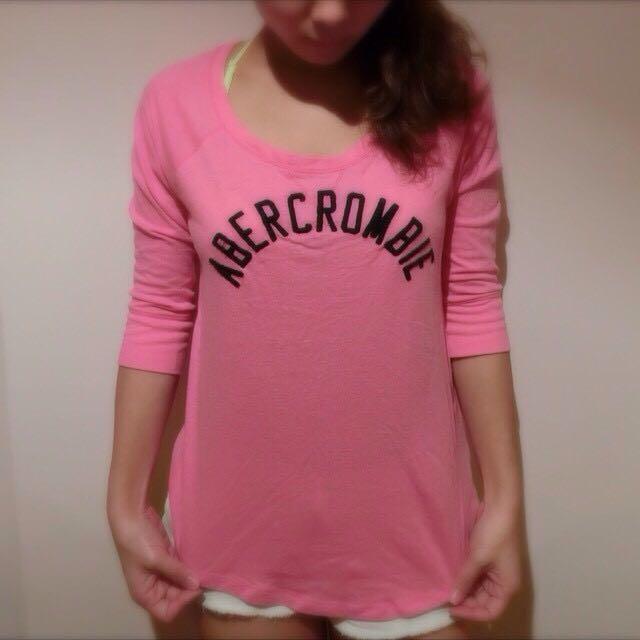 AF粉色七分袖上衣