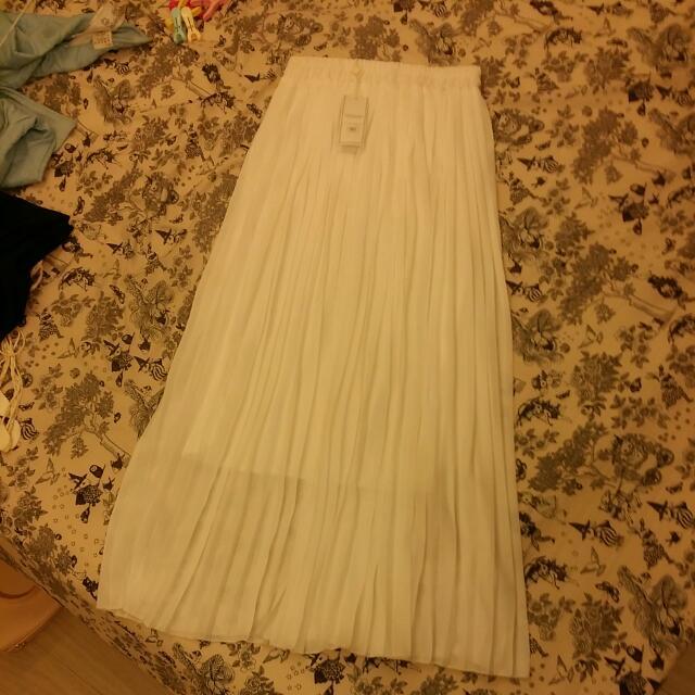 AIRSPACE~百搭~半透明百褶薄紗長裙