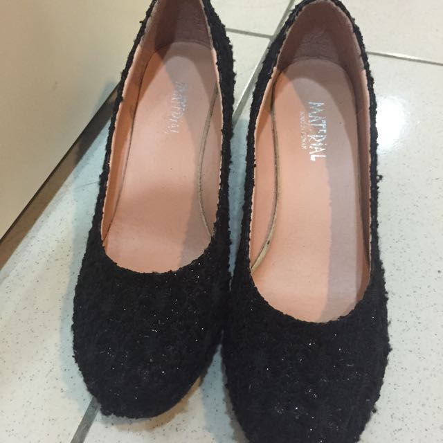黑色低調bling高跟鞋