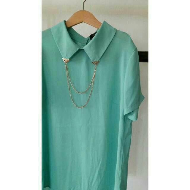 Dainty Mint Collar Detailed Shirt