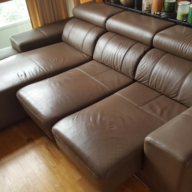 L-shape 1/2 Leather Sofa