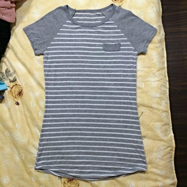 (夏出清)MIT休閒假口袋條紋上衣