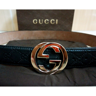 Preloved Gucci GG Plus Leather Belt with Interlocking G Buckle