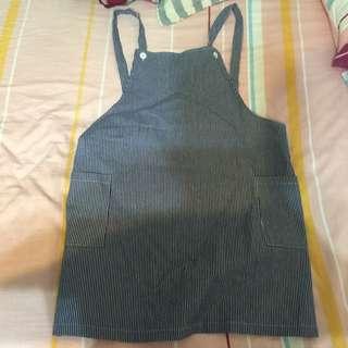 直條紋吊帶裙全新
