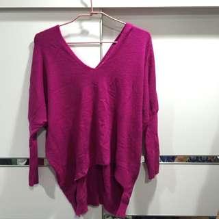 桃紫寬領毛衣