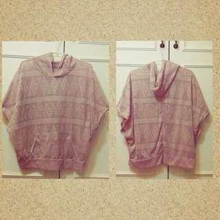 粉橘色縷空罩衫