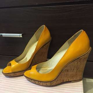ALDO二手楔型鞋黃色37號