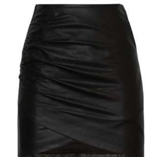White Suede Curved Leather Skirt