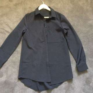 Oversized Black Collared Shirt. Size 6. Can Be Worn As A Dress.