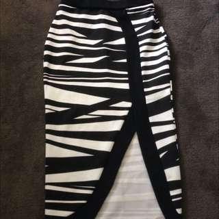 Zebra Split Skirt. Size 6