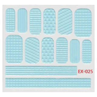 🚚 《Dear34》立體毛線指甲貼紙(6.4×6.6CM)EX-025粉藍格紋線條點點