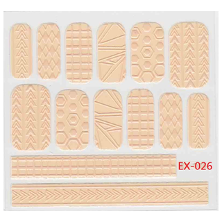 《Dear34》立體毛線指甲貼紙(6.4×6.6CM)EX-026粉橘幾何圖形